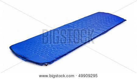 Blue light self-inflating travel sleep mat isolated on white