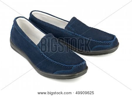 Blue soft  suede casual loafer isolated on white
