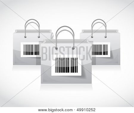 Shopping Bags Set With Bar Code