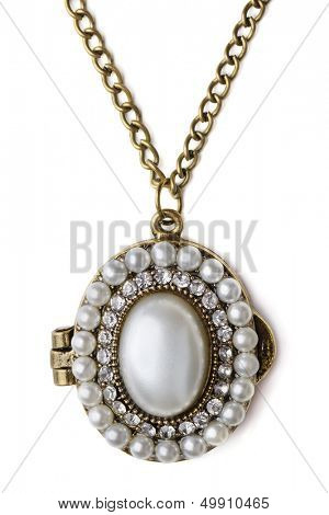 Vintage pearl locker isolated on white