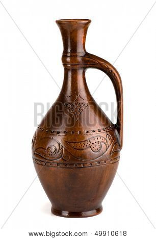 Clay wine jug isolated on white