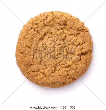 Oatmeal cookie isolated on white. Top view.