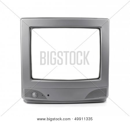 Old CRT TV with white screen isolated on white