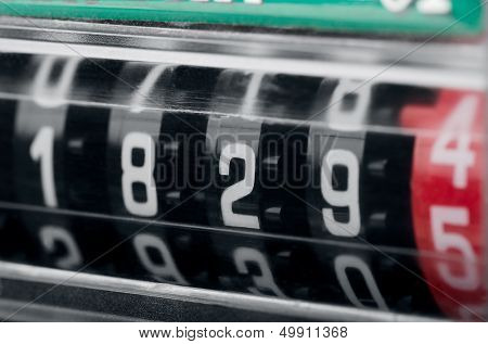 Close up of modern electricity meter counter