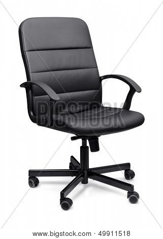 Black leather office chair isolated on whit