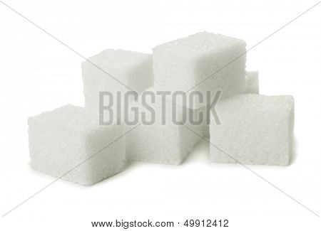 Pile of sugar lumps isolated on white
