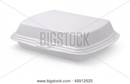 Closed styrofoam food box isolated on white