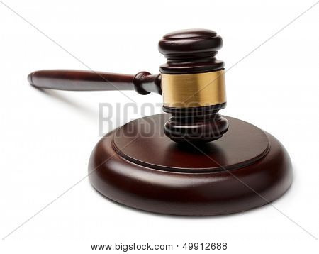 Wooden gavel and sound block isolated on white