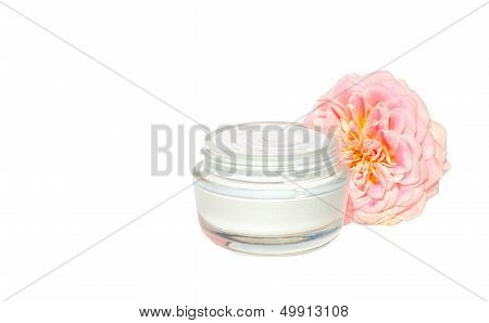 Cream Cosmetic Skin Care Beauty Organic With Pink Flower Bio Natural Isolated On White Background