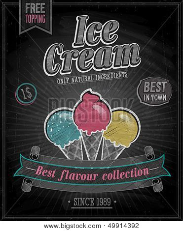 Vintage Ice Cream Poster - Chalkboard. Vector illustration.
