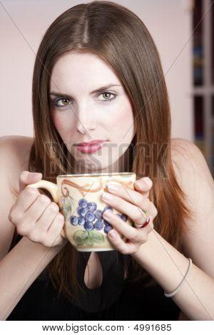 Pretty Woman With Mug