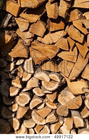 Close up of stack of firewood prepared for winter