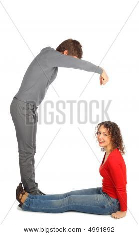 Young Man And Woman Represents  Letter G