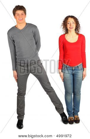 Young Man And Woman Represents  Letter N