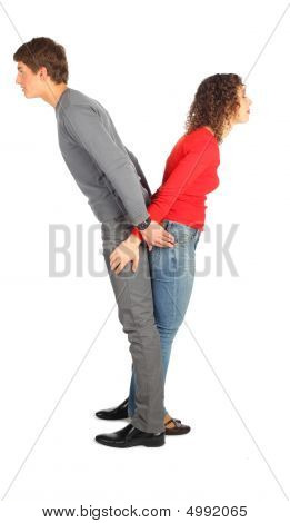 Young Man And Woman Represents  Letter Y