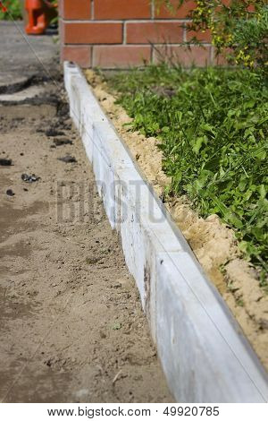 Curbs Used In The Repair Of Footpath