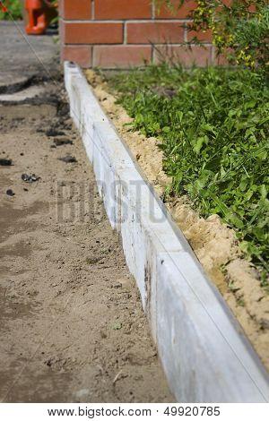 Curbs Used In The Repair Of Footpath
