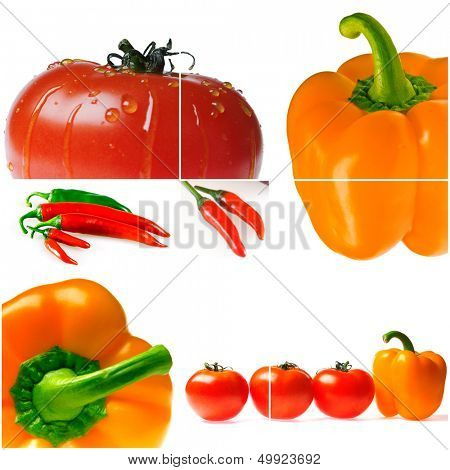 bright ripe tomatoes and peppers on white background
