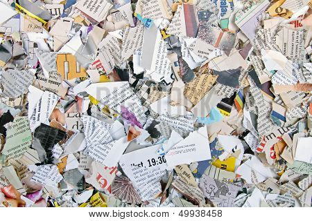 Background With Different Torn Newspapers And Magazines