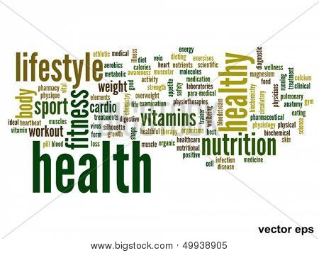 Vector eps concept or conceptual abstract health word cloud or wordcloud on white background