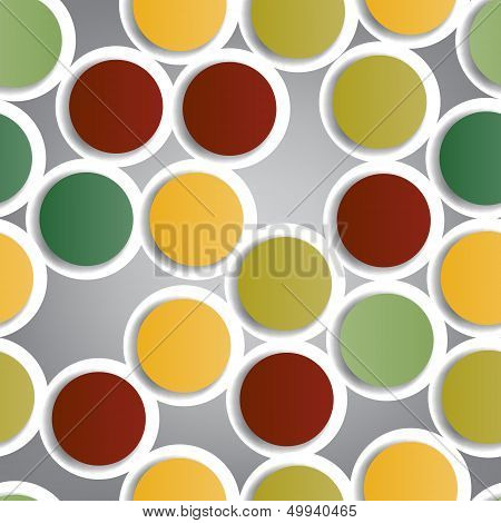 Seamless pattern composed of colorful paper bubbles