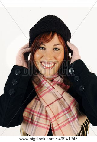 Happy woman in winter clothes