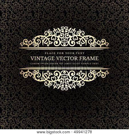 Vintage golden frame on dark ornate background