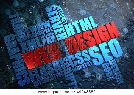 Web Design. Wordcloud Concept.
