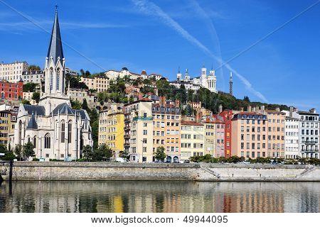 Horizontal View Of Saone River In Lyon City