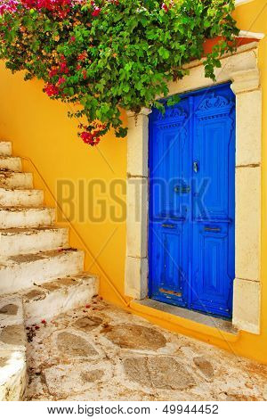 colorful Greece series -Symi island streets