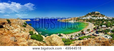 panoramic view of Lindos bay, Rhodes island, Greece
