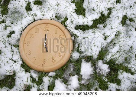 A Clock Face In The Snow