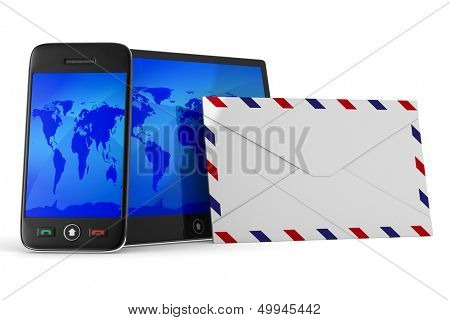 phone and tablet on white background. Isolated 3D image