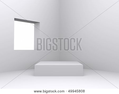 Pedestal Inside Isolated White Room With Window
