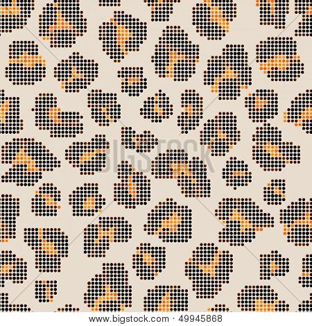 Leopard halftone seamless pattern