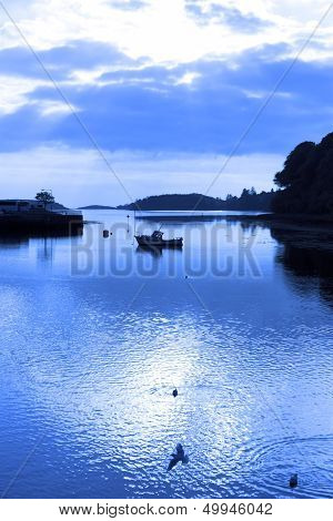 Blue Toned Silhouettes Of Boat And Birds At Sunset