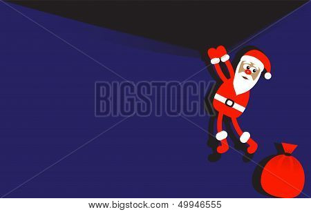 Background with hanging Santa Claus
