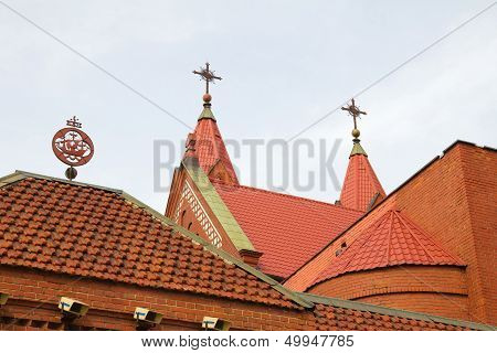 Church's Red Tile Roofs In Minsk, Belarus