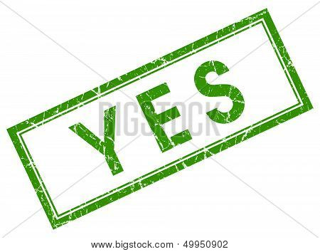 Yes Green Square Stamp