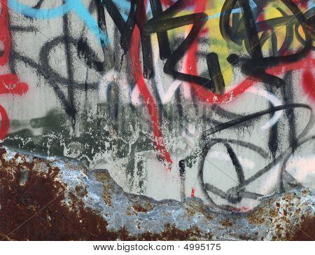 Grafitti On A Rusty Metal Door