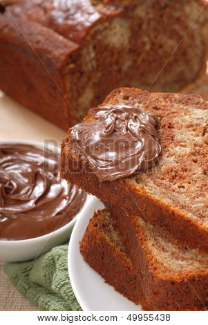 Freshly baked banana and chocolate nut bread with Nutella