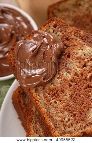Chocolate swirl and banana nut bread with Nutella