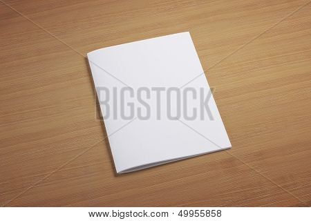 Blank Closed Magazine On Wooden Background
