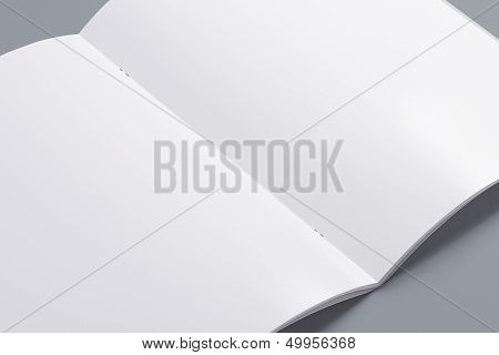 Blank Opened Magazine Isolated On Grey