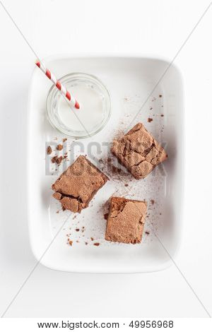 Chocolate Brownies On White Plate Served With Milk