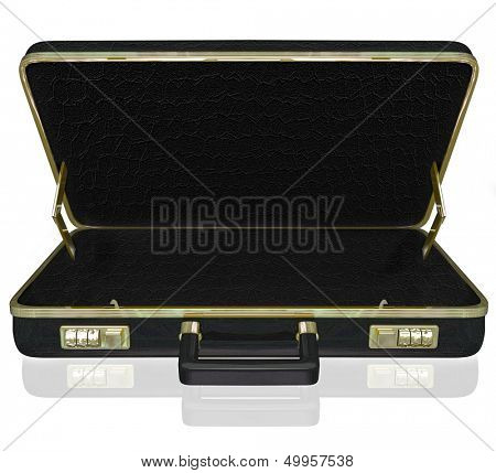 An empty black leather briefcase with space for your copy, message or contents inside