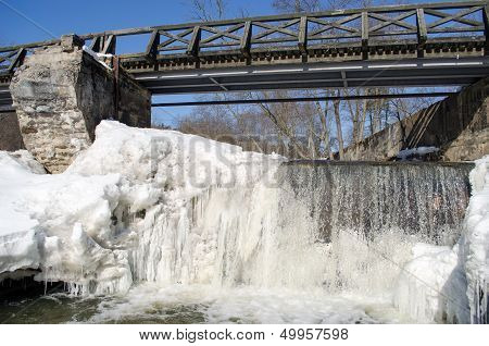 Wonderful River Waterfall Frozen Ice Water