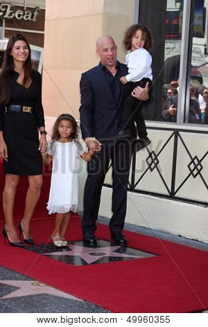LOS ANGELES - AUG 26:  Paloma Jimenez, Hania Riley Diesel, Vin Diesel, Vincent Diesel at the Vin DIesel Walk of Fame Star Ceremony at the Roosevelt Hotel on August 26, 2013 in Los Angeles, CA