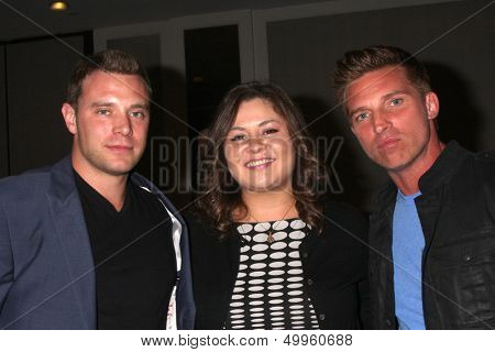 LOS ANGELES - AUG 24:  Billy Miller, Angelica McDaniel, Steve Burton at the Young & Restless Fan Club Dinner at the Universal Sheraton Hotel on August 24, 2013 in Los Angeles, CA