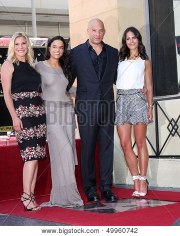 LOS ANGELES - AUG 26:  Katee Sackhoff, MichelleRodguez, Vin Diesel, Jordana Brewster at the Vin DIesel Walk of Fame Star Ceremony at the Roosevelt Hotel on August 26, 2013 in Los Angeles, CA